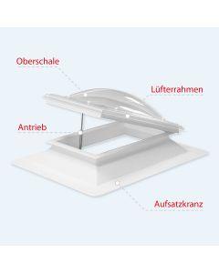 Lichtkuppel Polycarbonat Set 50 x 100cm 4-schalig mit Spindel oder Motor